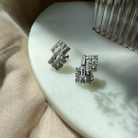 Vintage | Crystal Baguette Clip-On Earrings