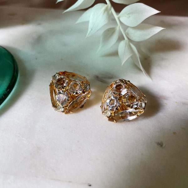 Vintage | Triangle Crystal Clip-On Earrings