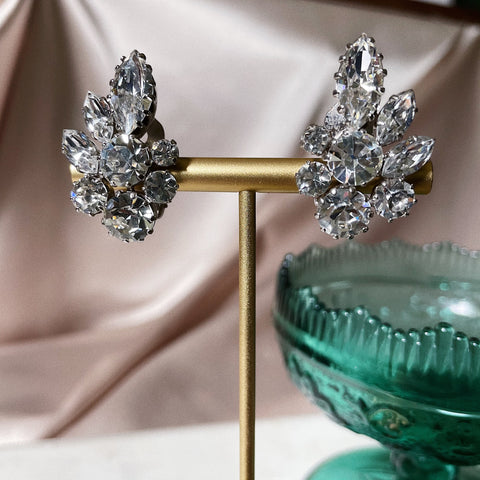 Vintage | Crystal Leaf Clip-On Earrings
