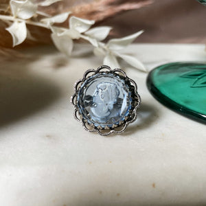 Vintage | Blue and White Reverse Cameo Ring | Adjustable