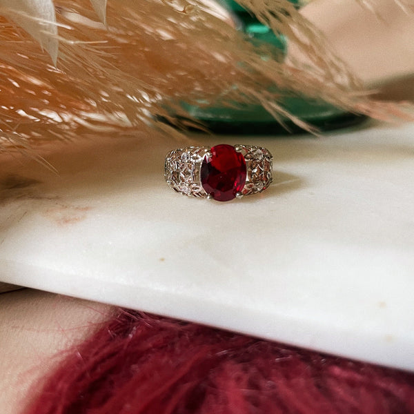 Vintage | Sterling Silver Faux Ruby Ring | Size 6.5
