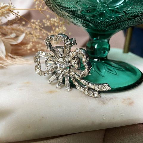 Vintage | Crystal Flower Bow Brooch