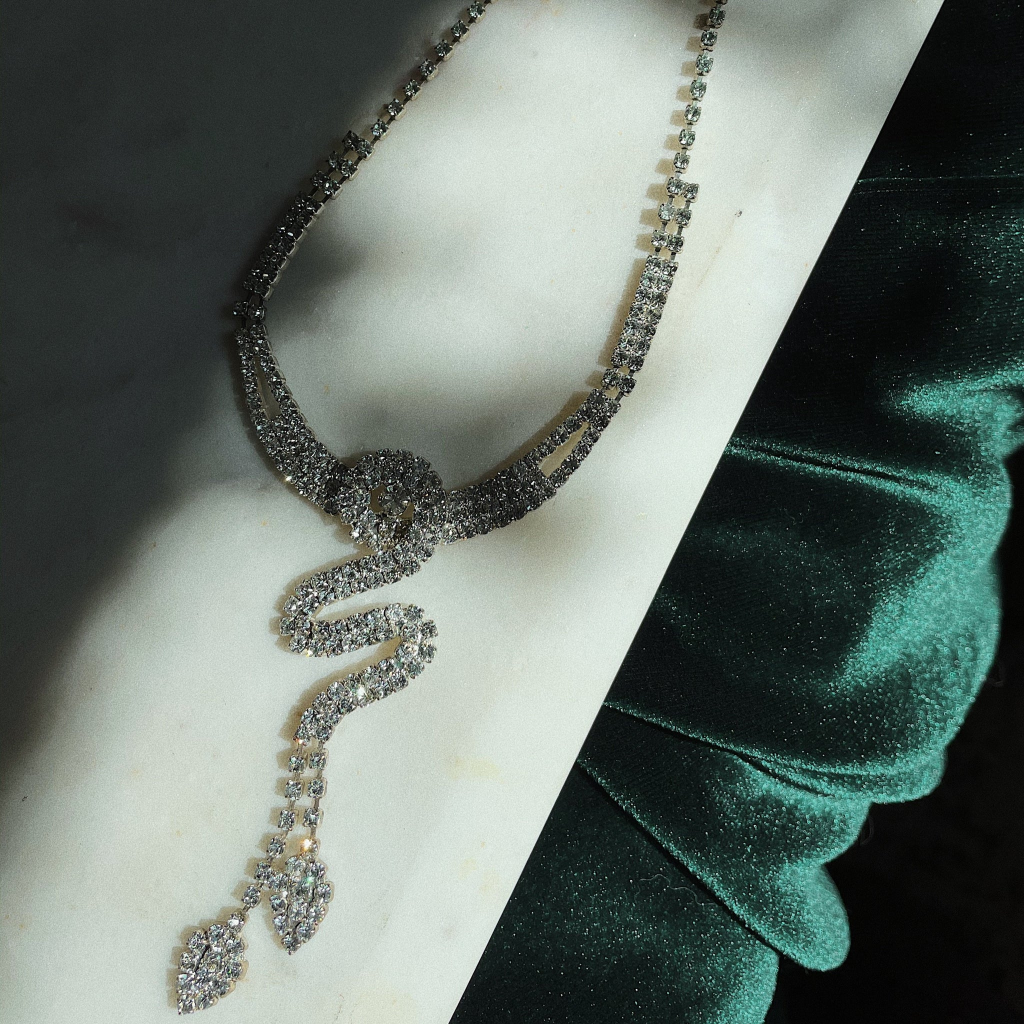 Vintage | Double-Snake Drop Necklace