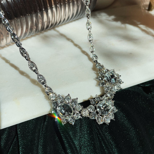 Vintage | Triple Flower Crystal Necklace