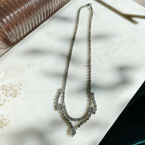 Vintage | Crystal Diamond Point Drop Necklace