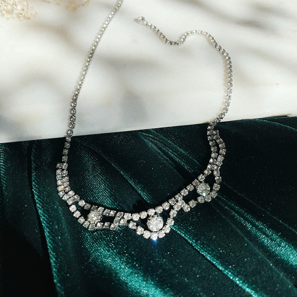 Vintage | Scalloped Crystal Necklace