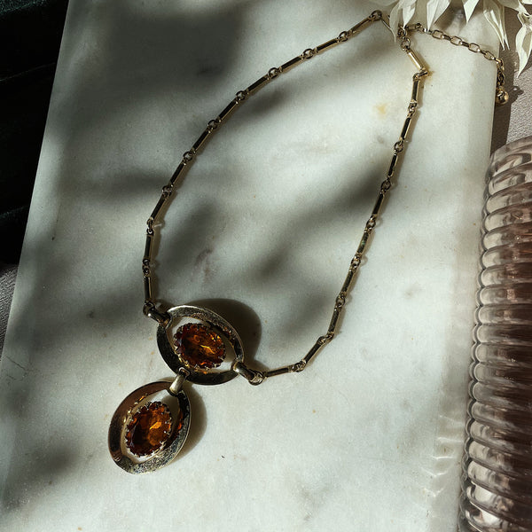 Vintage | Amber Eye Bar and Link Chain Necklace