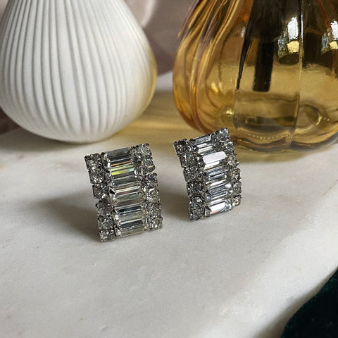 Vintage | Crystal Arch Baguette Clip-On Earrings