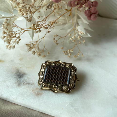 Antique | Gold Victorian Mourning Hair Brooch