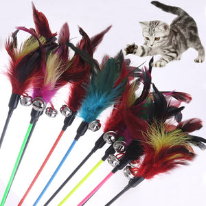 Cat Toys Cats Stick Feather With Small Bell