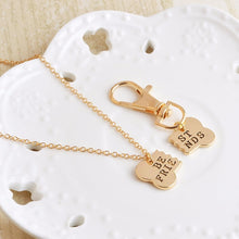 Load image into Gallery viewer, 2pcs/set Gold & Silver Color Dog Bone Best Friends Charm Necklace & Keychain