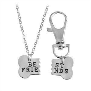 2pcs/set Gold & Silver Color Dog Bone Best Friends Charm Necklace & Keychain