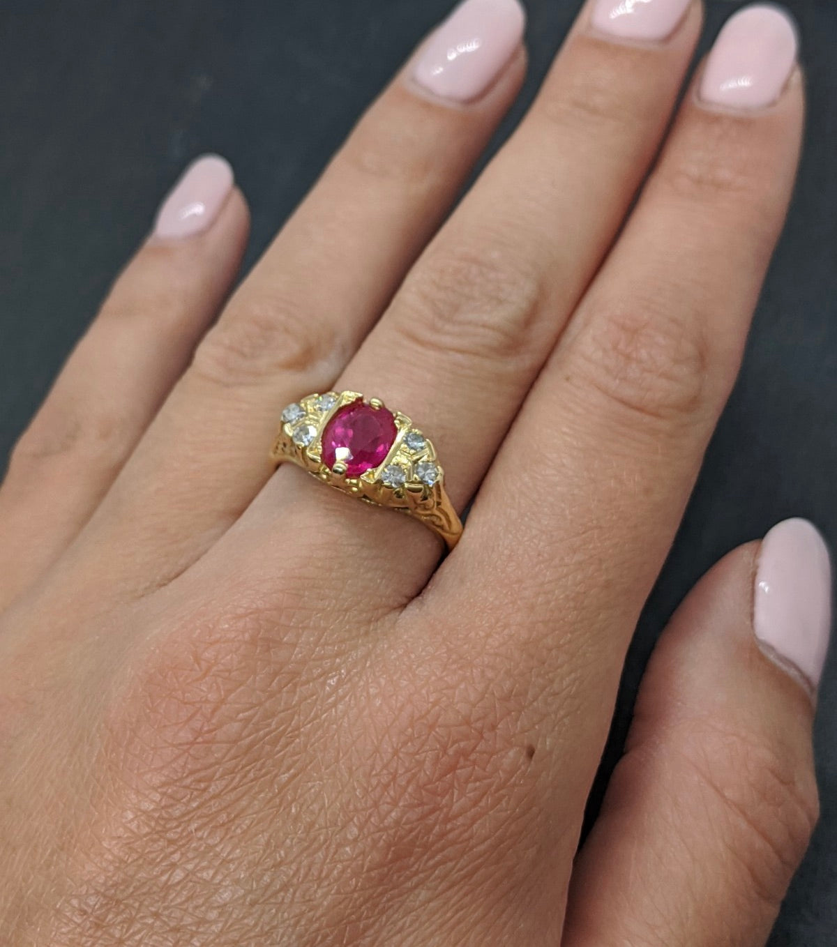 VINTAGE RUBY & DIAMOND RING