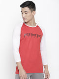 Men's Raglan Full Sleeve Tee- Red/White