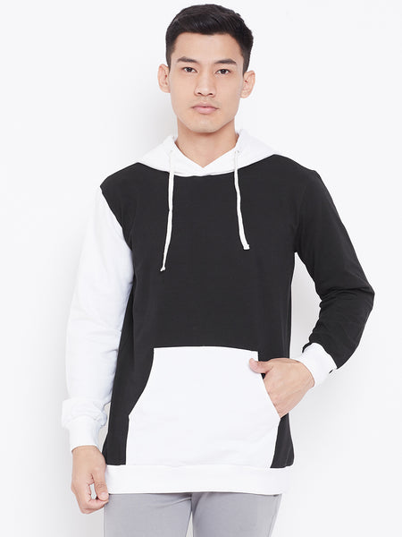 Colour Block Hoodie Jacket- Black/White