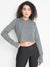 WOMEN'S TERRY CROP HOODIE (GREY)