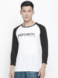 Men's Raglan Full Sleeve Tee- White/Black