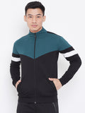 Colour Block Zipper Jacket- Green/Black