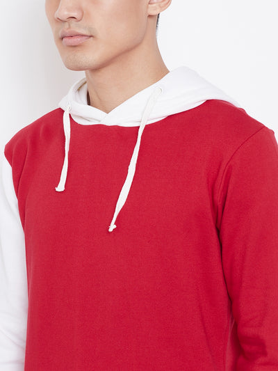 Colour Block Hoodie Jacket- Red/White