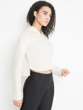 WOMEN'S TERRY CROP HOODIE (CREAM)