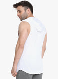 DROP ARM SLEEVELESS HOODIE- WHITE