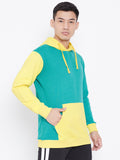 Colour Block Hoodie Jacket-Green/Mustard