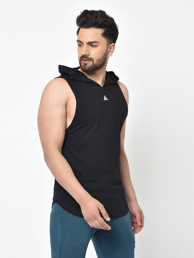 Men's Drop Arm Sleeveless Hoodie- BLACK
