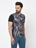 Men's Army Print Tee-Grey/Black