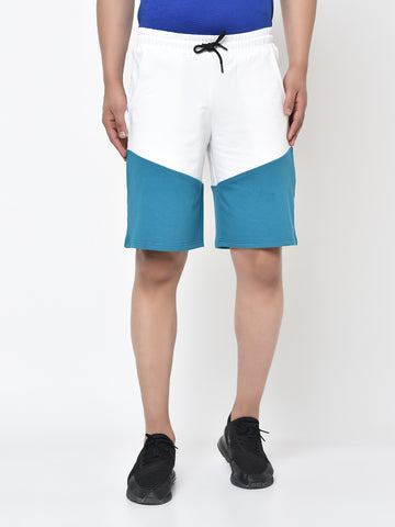 Colour Block Shorts-Teal
