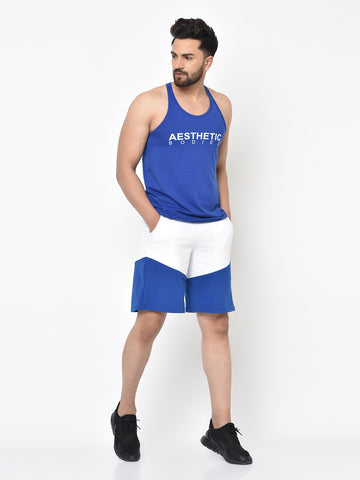 Colour Block Shorts-Blue