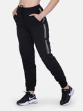 Women Solid stylish Hooded Tracksuit- Black