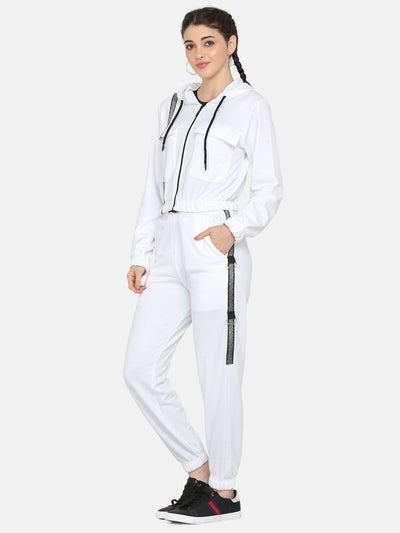 Women Solid stylish Hooded Tracksuit- WHITE