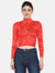 Women's High Neck Top- RED