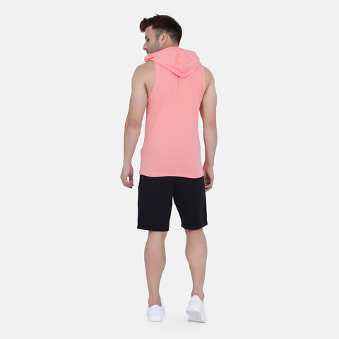 Men's Drop Arm Sleeveless Hoodie(Pink)