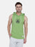 Men's Drop Arm Sleeveless Hoodie(Green)