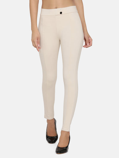 Solid Jegging- Cream