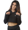 Women's  Terry Crop Hoodie (Black)