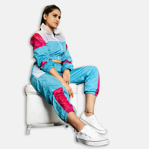 WOMEN RETRO TRACK SUIT -SKY BLUE