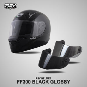 RSV FF300 BLACK GLOSSY BUNDLING WITH VISOR DARKSMOKE / IRIDIUM SILVER