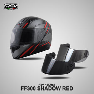 RSV FF300 SHADOW RED BUNDLING WITH VISOR DARKSMOKE / IRIDIUM SILVER