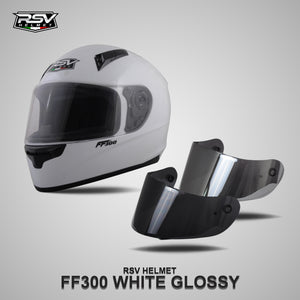 RSV FF300 WHITE GLOSSY BUNDLING WITH VISOR DARKSMOKE / IRIDIUM SILVER
