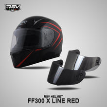 Load image into Gallery viewer, RSV FF300 X LINE RED BUNDLING WITH VISOR DARKSMOKE / IRIDIUM SILVER