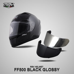 RSV FF500 BLACK GLOSSY BUNDLING WITH VISOR DARKSMOKE / IRIDIUM SILVER