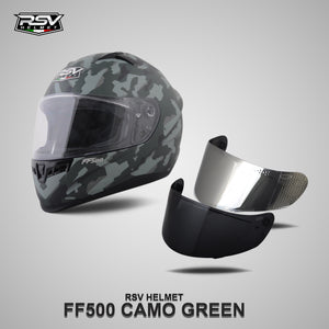 RSV FF500 CAMO GREEN BUNDLING WITH VISOR DARKSMOKE / IRIDIUM SILVER