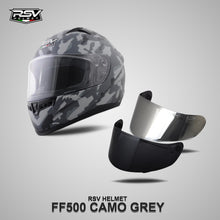 Load image into Gallery viewer, RSV FF500 CAMO GREY BUNDLING WITH VISOR DARKSMOKE / IRIDIUM SILVER