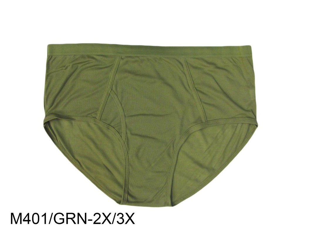 Men's Color Briefs W/Front Opening (Green/Orange) Plus Size