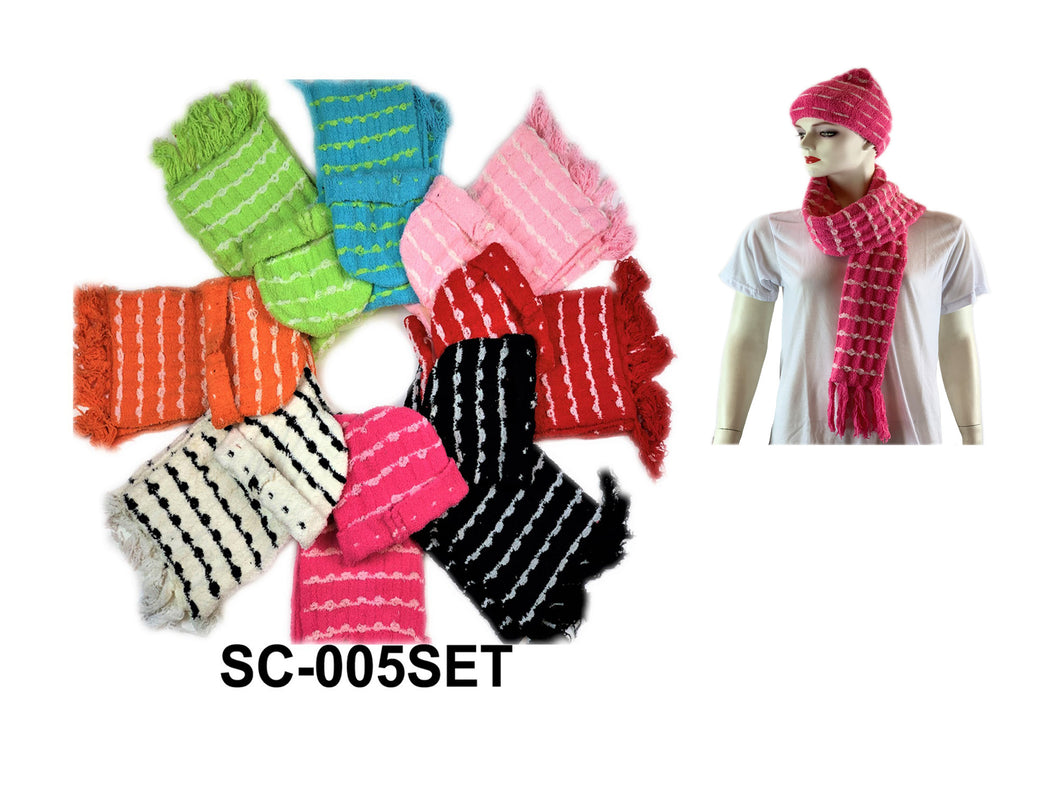 Cozy Scarf+Hat Set W/Knitted Design