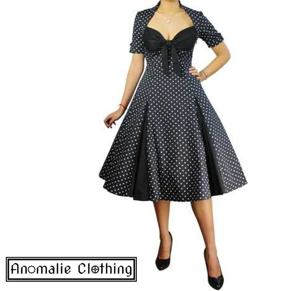 Black & White Retro Polka Dot Swing Dress