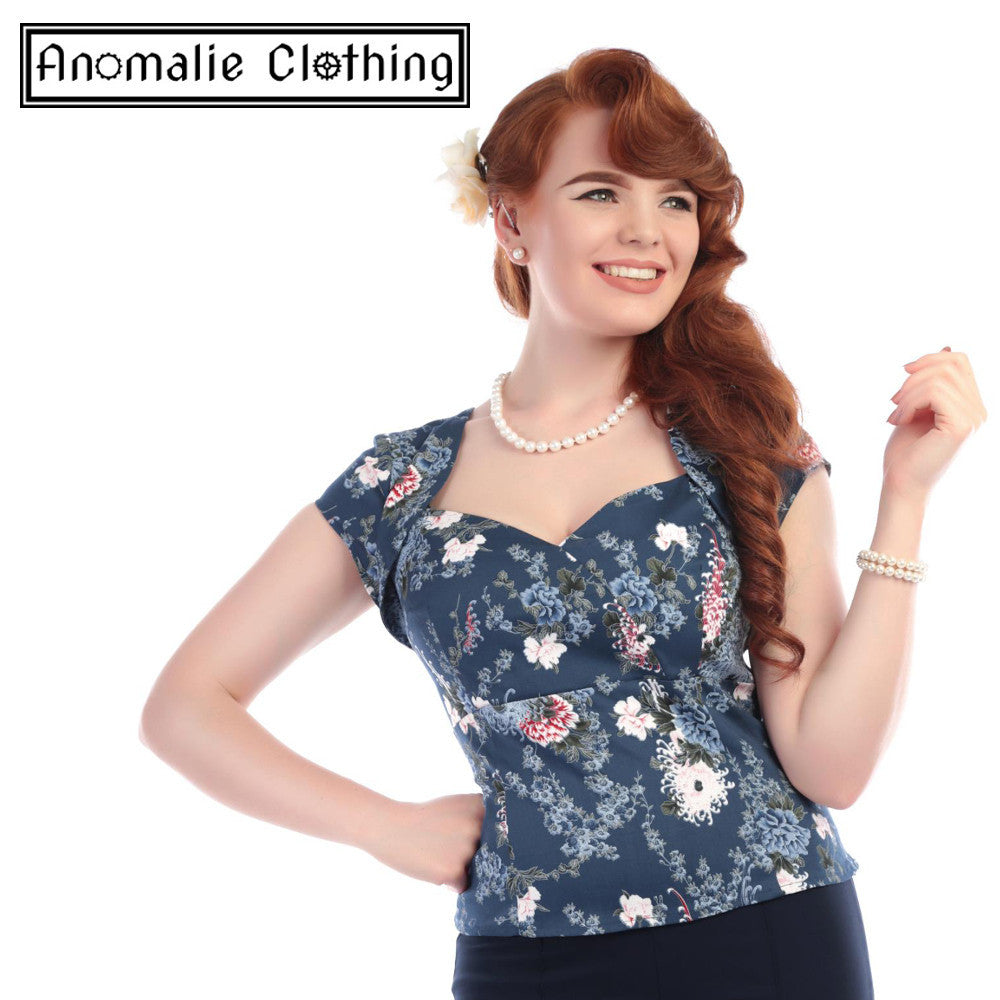 Blue Oriental Garden Regina Top - Discontinued