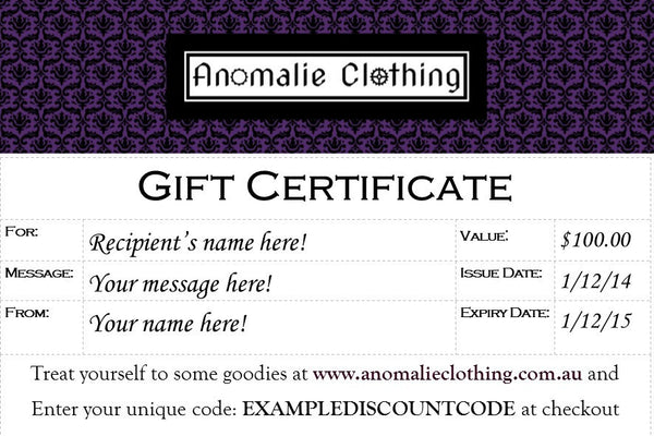 $100 Anomalie Clothing Gift Certificate